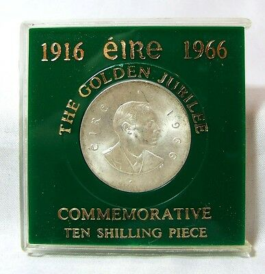 CASED 1916 Eire 1966 Silver Patrick Pearse Ten 10 Shilling Coin Easter Uprising