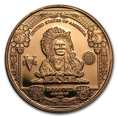 1 Unze Copper Round $5.00 Indian Chief Silver Certificate 999,99