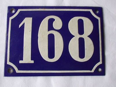 Antique German Porcelain House Number Plaque Enamel Steel Metal Sign 168