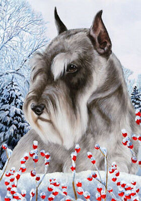 Garden Indoor/Outdoor Winter Flag - Grey Schnauzer 150121