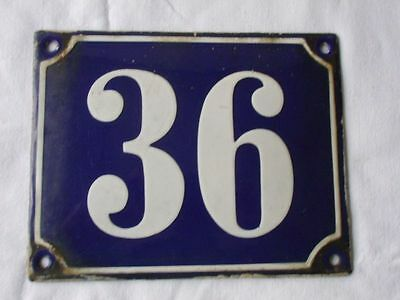 Antique German Porcelain House Number Plaque Enamel Steel Metal Sign 36