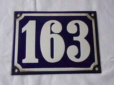Antique German Porcelain House Number Plaque Enamel Steel Metal Sign 163