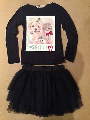 H&M Christmas Puppy Kitten Selfie Top & Navy Tutu Mini Skirt Next Day Post 4-5-6