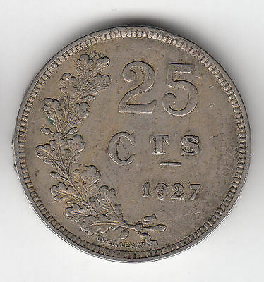 Luxemburg 25 Cents 1927 Shield     121C                 By Coinmountain