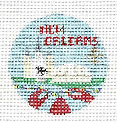 NEW ORLEANS, LOUISIANA handpainted Needlepoint Ornament by Kathy Schenkel RD.