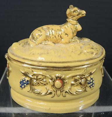 19th Century Antique Yellow Ware Figural Covered Box With Lamb