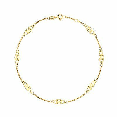 """14K Solid Yellow Gold Infinity Anklet Ankle Bracelet 10"""""""