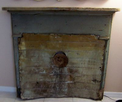 Antique Salvage Fireplace Mantel Metal Screen w/ Stovepipe Opening Seafoam Green