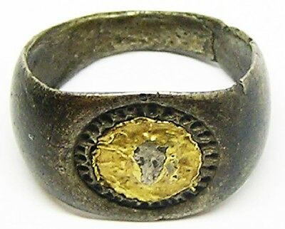 Ancient Roman Mithraic Silver & Gold Finger Ring of Sol / Helios c. 3rd century