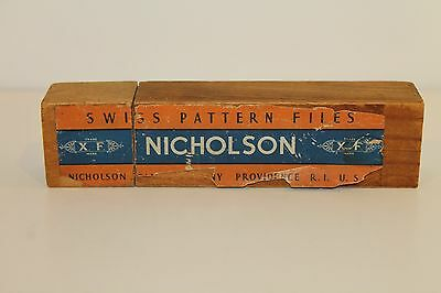 "Vintage Lot of 7 Nicholson Swiss Pattern Assorted 5 1/2"" Files In Orig. Wood Box"