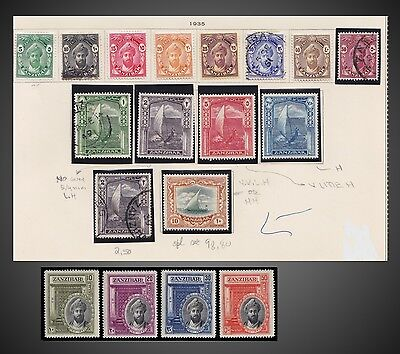 1936 Or 1935 Zanzibar Lot On Old Page 2 Complete Issues Sct 201 -213 ,214 -217