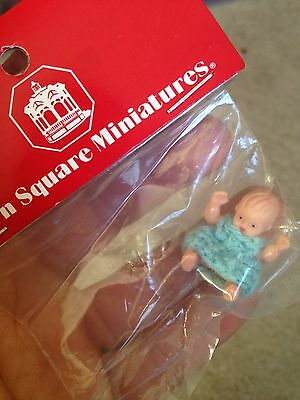 "Vintage Miniature Dollhouse Tiny Toy Baby Doll BLUE Crocheted Dress 1"" NEW LOOK"