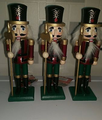 Set Of 3 Handpainted Christmas Nutcracker Soldiers 18Cms Brand New With Tags