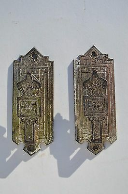 2 Antique Ornate Victorian Flat Drapery/curtains Rods Holders/ Brackets Metal
