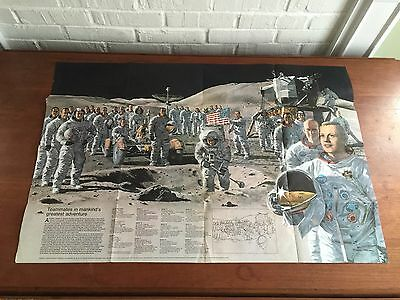 Vintage 1973 NATIONAL GEOGRAPHIC 2 Sided POSTER ASTRONAUT SPACE MOON NASA APOLLO