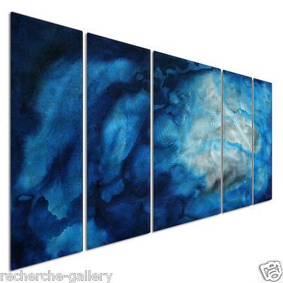 Metal Art For Modern Settings Abstract Wall Sculpture Underwater Blues