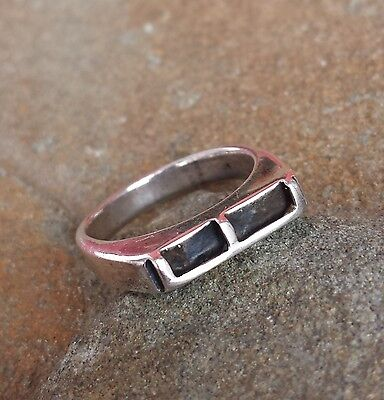Rare Vintage JEWEL ART Sterling Silver Initial Letter E Stackable 5.25 Ring 4.4g