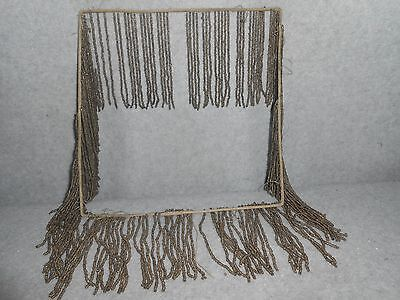 """Antique Beaded Lampshade 4 1/2"""" Fringe on Square Frame Support, 9 1/2"""" x 9 1/2"""""""