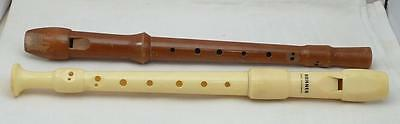 2 Soprano Recorders From C5 Up 1 Wood By Vandor, 1 Plastic By Hohner