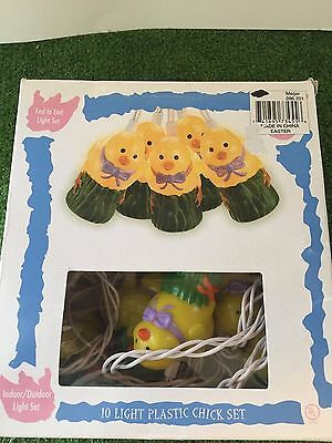 New Set Of Ten Easter Yellow Chick Novelty Blow Mold Lights
