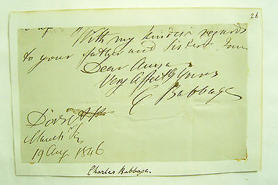 Genuine Charles Babbage Autograph on part letter - Vintage Computer History