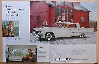 1959 magazine ad for Lincoln - artist Norman Rockwell with his Premiere Landau