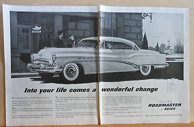 1953 two page magazine ad for Buick - Roadmaster illustrated - Fine Car Motoring