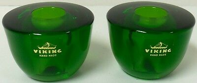 Vintage New Pair Of Hand Made Deep Cobalt Green Viking Glass Candle Holders