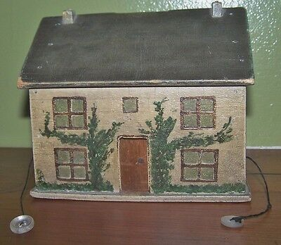 "ANTIQUE Wooden House Bank In Orignal Paint On All Sides. AAFA 4 3/4""H Door Slide"
