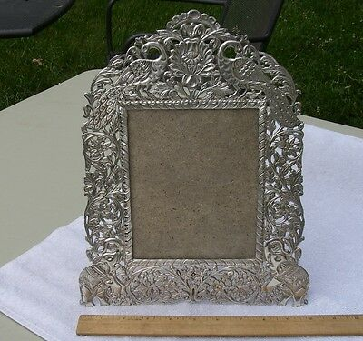 Fine INDIA Hand Made LARGE SILVER PICTURE FRAME-Peacocks & Elephants Pierced