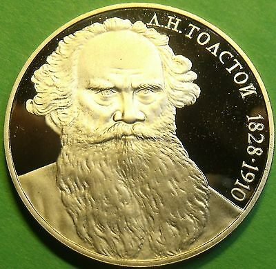 Cameo Proof Russia 1988 Rouble~160th Anniversary - Birth of Leo Tolstoi~Free Shi
