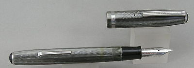 Esterbrook SJ Grey & Chrome Fountain Pen - 2550 Extra Fine Nib - 1950's - USA