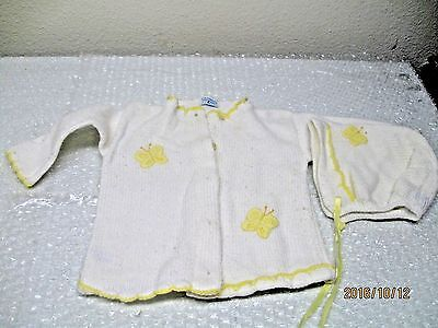Vintage Girls Personality HandMade Knit Baby Infant Sweater & Bonnet Butterfly