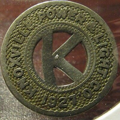 1927 Knoxville, TN Power & Light Co. Transit Trolley Token - Tennessee