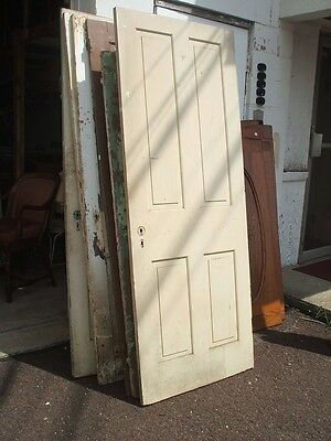 Four Panel Door Cream Painted Vintage Antique Architectural #sd6a