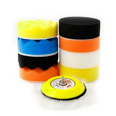 "Hot 10Pcs 3"" M6 Thread Polishing Buffing Buffer Pad Kit Car Polisher Air Sander"