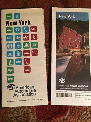 2 Vintage 1970's Travel New York Paper Road Maps