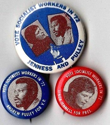 Pin Lot LINDA JENNESS Button PULLEY Badge SOCIALISTS PARTY Pinback 1972 Campaign