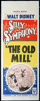 THE OLD MILL Disney Silly Symphony LINEN BACKED Long Daybill Movie poster