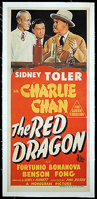 THE RED DRAGON Charlie Chan Vintage LINEN BACKED Daybill Movie Poster
