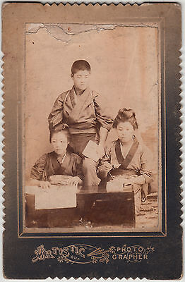 Antique Photo / Young Man Supervising Sewing Sisters / Japanese / Dated 1904