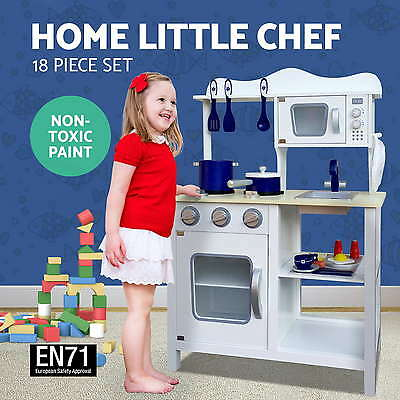 Kids Wooden Kitchen Pretend Play Set Toy Children Cooking Home Cookware White