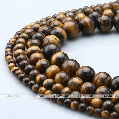 4 Sizes Natural Tiger's Eye Gemstone Round Charm Loose Beads Trendy Jewelry