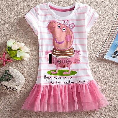 NEW Baby Girls Peppa Pig Tutu Dress Clothes Kid Top T-Shirt Blouse Toddler 2-9Y