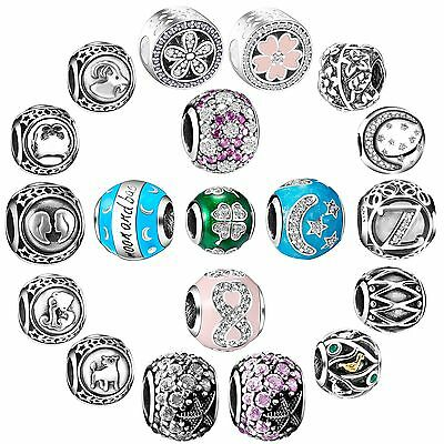 Unique Pattern Round Charms Bead Jewelry Fit 925 Silver Necklace Bracelet Bangle