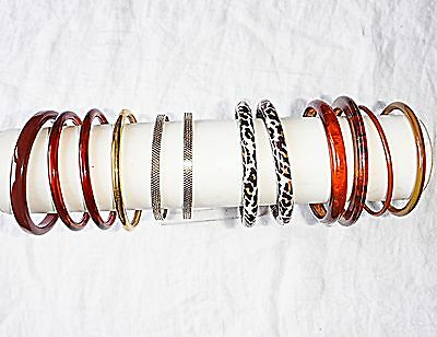 Vintage Retro Lucite Plastic Metal Browns/gold Bangle Collection 12 Stylish Chic