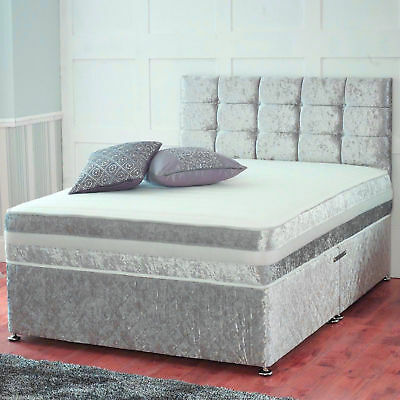 Black Friday Crushed Velvet Divan Bed With Under Bed Storage Orthopedic Mattress
