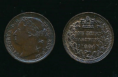 1884 Victoria...THIRD FARTHING..Lustre....Fast Post
