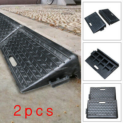 2X Black Rubber Kerb Ramps for Cars Caravans Wheelchair Mobility Disabled Access
