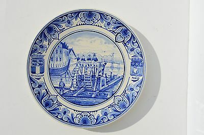 Antique Delft Holland Blue & White Plate Depicts Man Powered Boating Scene Rare